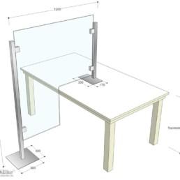 MK Schutztrennwand für Tisch, Maße