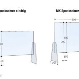 MK Spuckschutz Skizze mit Maßen
